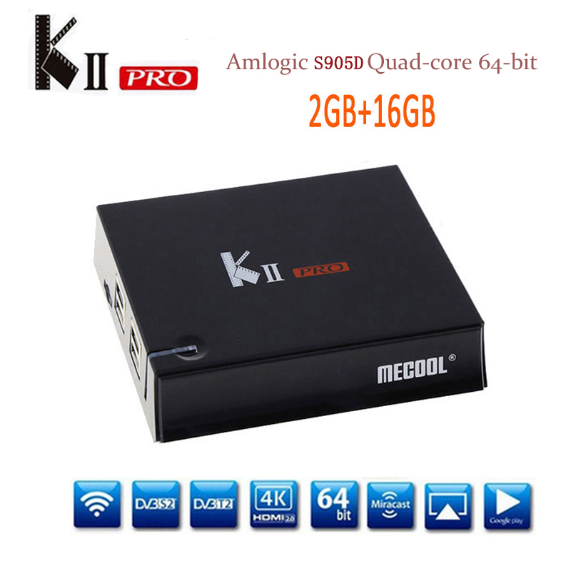 MECOOL KII Pro DVB-T2+DVB-S2 Android 7.1 Amlogic S905D Quad-core TV Box 2GB/16GB 2.4G&5G Dual Wifi Bluetooth KIIpro set top box k1 dvb s2 android 4 4 2 amlogic s805 quad core tv box