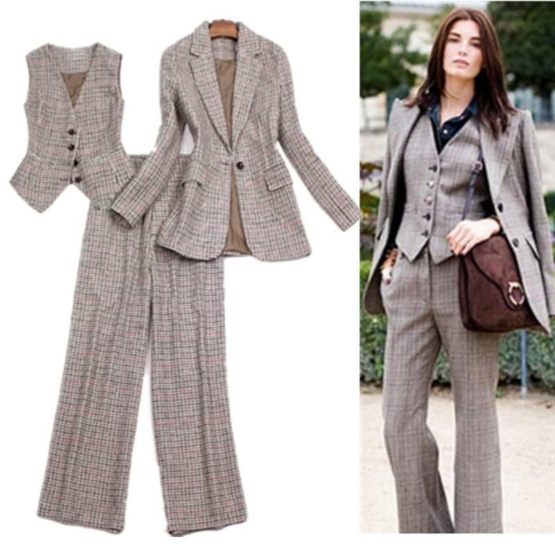 Vintage Pants Suits For Women Stylish Retro England Style Plaid 3 Pieces Blazer Jacket Waistcoat Trousers Fashion Office Ladies