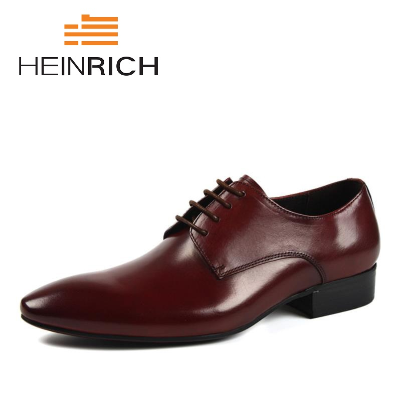 HEINRICH 2018 Mens Dress Shoes Leather Man Formal Business Work Derby Flats Pointed Toe Men Shoes Chaussure Homme MariageHEINRICH 2018 Mens Dress Shoes Leather Man Formal Business Work Derby Flats Pointed Toe Men Shoes Chaussure Homme Mariage