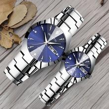 Новая пара смотреть Для женщин кварцевые наручные часы Для Мужчин's Вольфрам браслет часы лучший бренд класса люкс студент часы календарь часы световой