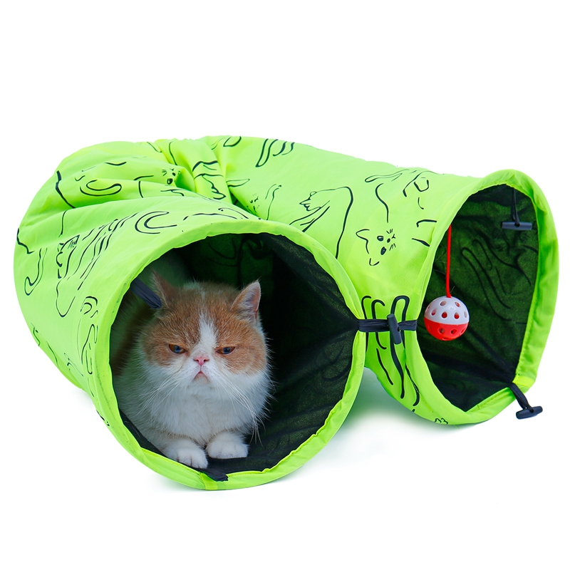 Cat Tunnel Funny 120cm Long Collapsible Oxford Cat Kitten Play Toy House Cat Dog Puppy Favor Green Bulk 2 Holes Pet Toy
