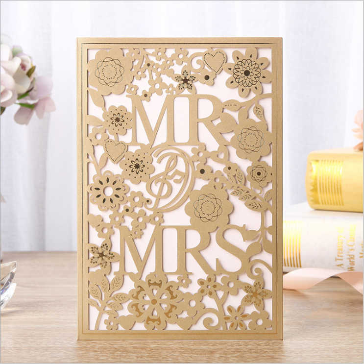 New Release!!! High Quality Mr & Mrs Wedding Invitations Cards 127*186mm Gold Including Printing Card , Envelope And Seals