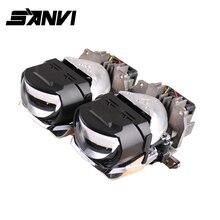 Sanvi 2pc 2.5H88 Bi LED projector lens headlight 45W 6000k Auto Headlight car Motorcycle light retrofit kit