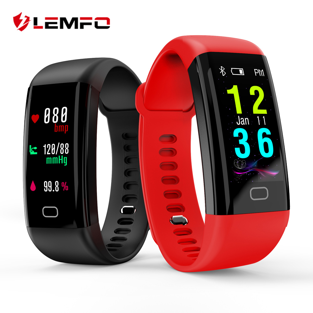 LEMFO Smart Band 2018 Color Touch Screen ip68 Waterproof Blood Pressure Oxygen Heart Rate Monitor Sport Bracelet Talk Band Mi