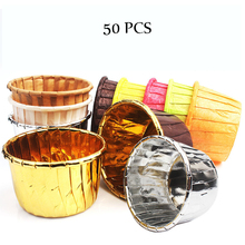 50PCS Crimping Cup Gold Silver Cupcake Wrappers Baking Cups Cases Muffin Boxes Cake Decorating Tools Kitchen DIY