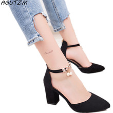 Agutzm 2018 Летняя женская обувь туфли-лодочки с острым носком Туфли под платье ботинки на высоком каблуке свадебные туфли tenis feminino сбоку с