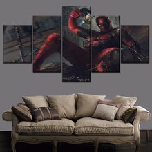 Home Decorative Modular Picture 5 Piece Deadpool Venom Symbiote Movie Painting Modern Canvas HD Printing Type Wall Poster(China)