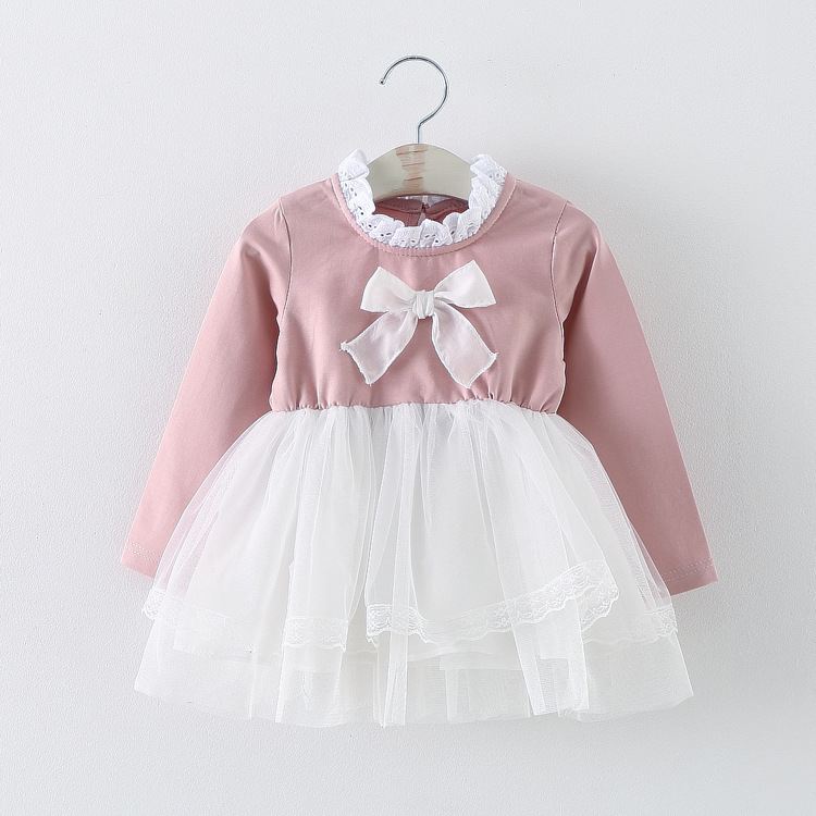 a4b1e3214422 new 2016 spring autumn bow baby girl dress cute long sleeve mesh ...