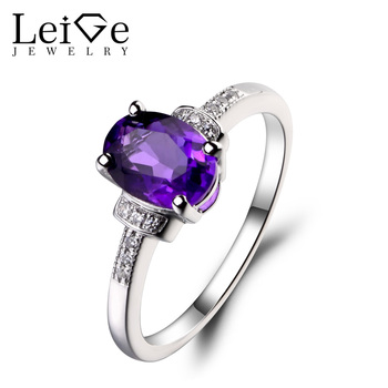 Leige Jewelry 925 Sterling Silver Natural Amethyst Ring Oval Cut Gemstone February Birthstone Promise Engagement Rings for Women