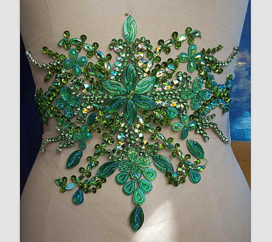 d2baea68c0 bi.Dw.M Green Embroidery Beaded Crystal Rhinestone Applique Patch 22x35cm  Sewing For Wedding Dress Trims Waist Belly Decoration