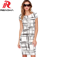 Victoria Beckham Women Work Dress 2016 Summer Fall Print Sheath Round Neck Short Sleeve Office Party