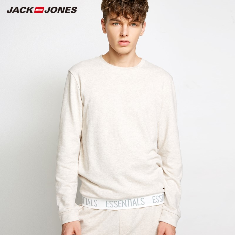 JackJones Men's Knitted Cotton T-shirt Sports Homewear Basic Soft Warm New Brand Menswear 2183HE502
