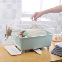Kitchen cupboard plastic drain dish rack with lid bowling storage box put dishware cutlery storage box rack XI2281131