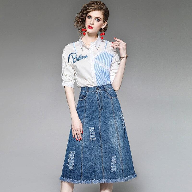 Denim Skirt Spring And Summer Women's Sets 2019 New Fashion Blouse Burrowed Half Skirt Suit 2 Piece Set Women