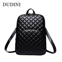 DUDINI Hot Women S Quilted Backpack Fashion PU Leather Backpack For Teenage Girls Bag Solid Color