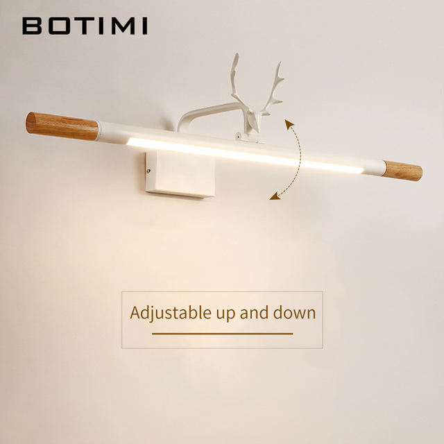 BOTIMI 220V LED Wall Lamp For Bathroom White Mirror Light Wooden Wall Sconce Modern Bedside Lights Wall Mount Luminaira
