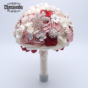 Image 5 - Kyunovia 絹の結婚式の花ラインストーンジュエリー赤面ピンクのブローチ花束ゴールドブローチ花嫁のウェディングブーケ FE93