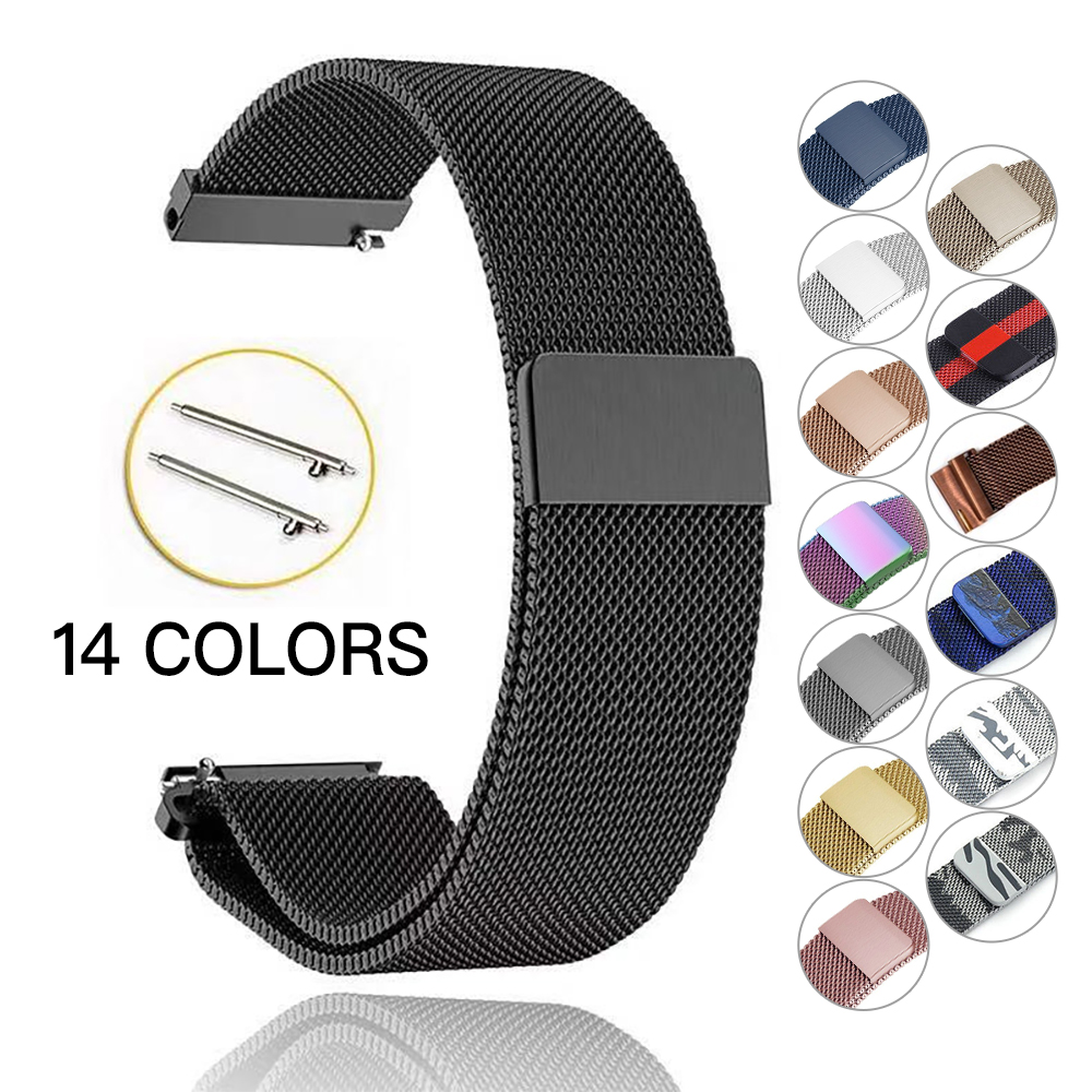 Samsung Gear S3 Frontier/Classic 22mm/S2 20mm Band Strap Galaxy Watch 46mm 42mm Stainless Steel Loop Milanese Belt Accessories