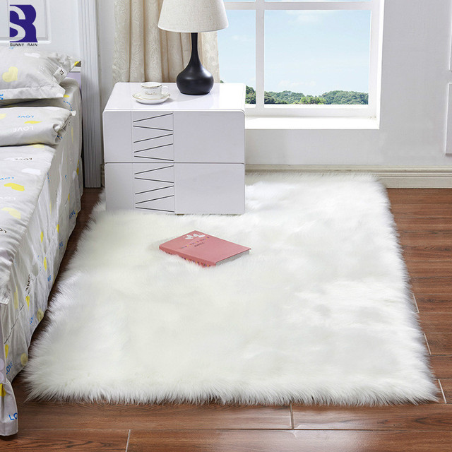 SunnyRain 1 Piece Artificial Fur Sheepskin Rug White Fluffy Rugs For Living  Room Bedroom Rugs