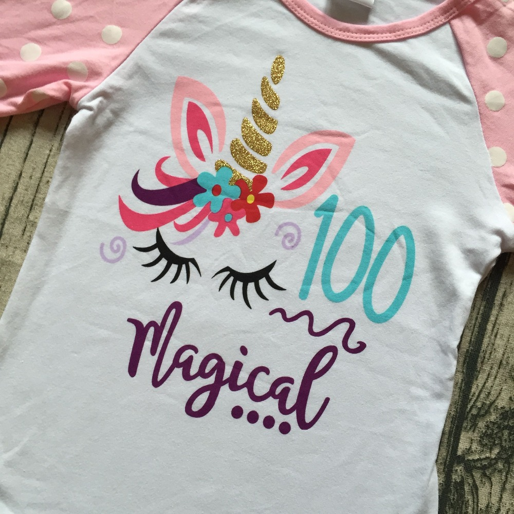 9f108fc3dbe exclusive baby girls three quarter icing raglans boutique 100 days magical  unicorn pink top shirts clothes back to school cotton