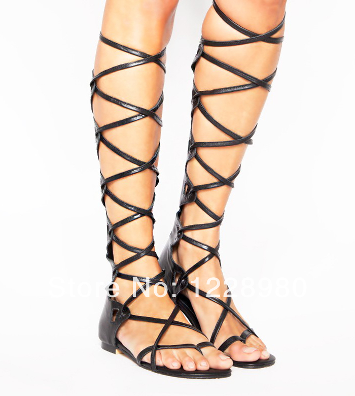 e71d36057e25f 2014 New Arrival Ribbon Lace Up Boots Cross Tied Sexy Cut Out Booties Gladiator  Sandals Knee High Summer Flats Sandals -in Women's Sandals from Shoes on ...