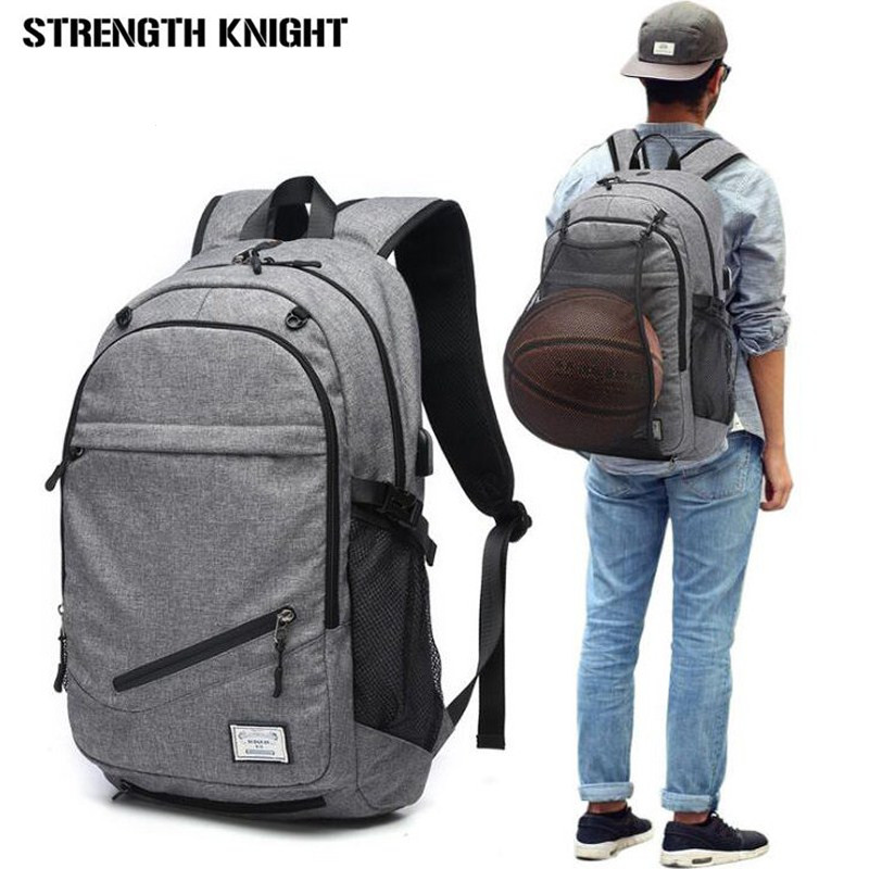 все цены на Male Laptop Backpack Canvas Men USB Backpack School Bags for Teenager Ball Bag Pack Multifunction Travel Rucksack mochilas mujer