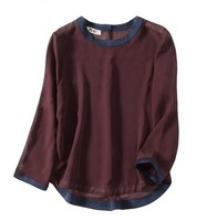 New European Station High End Custom 100 Mulberry Silk Wine Red Hit The Long Sleeved T