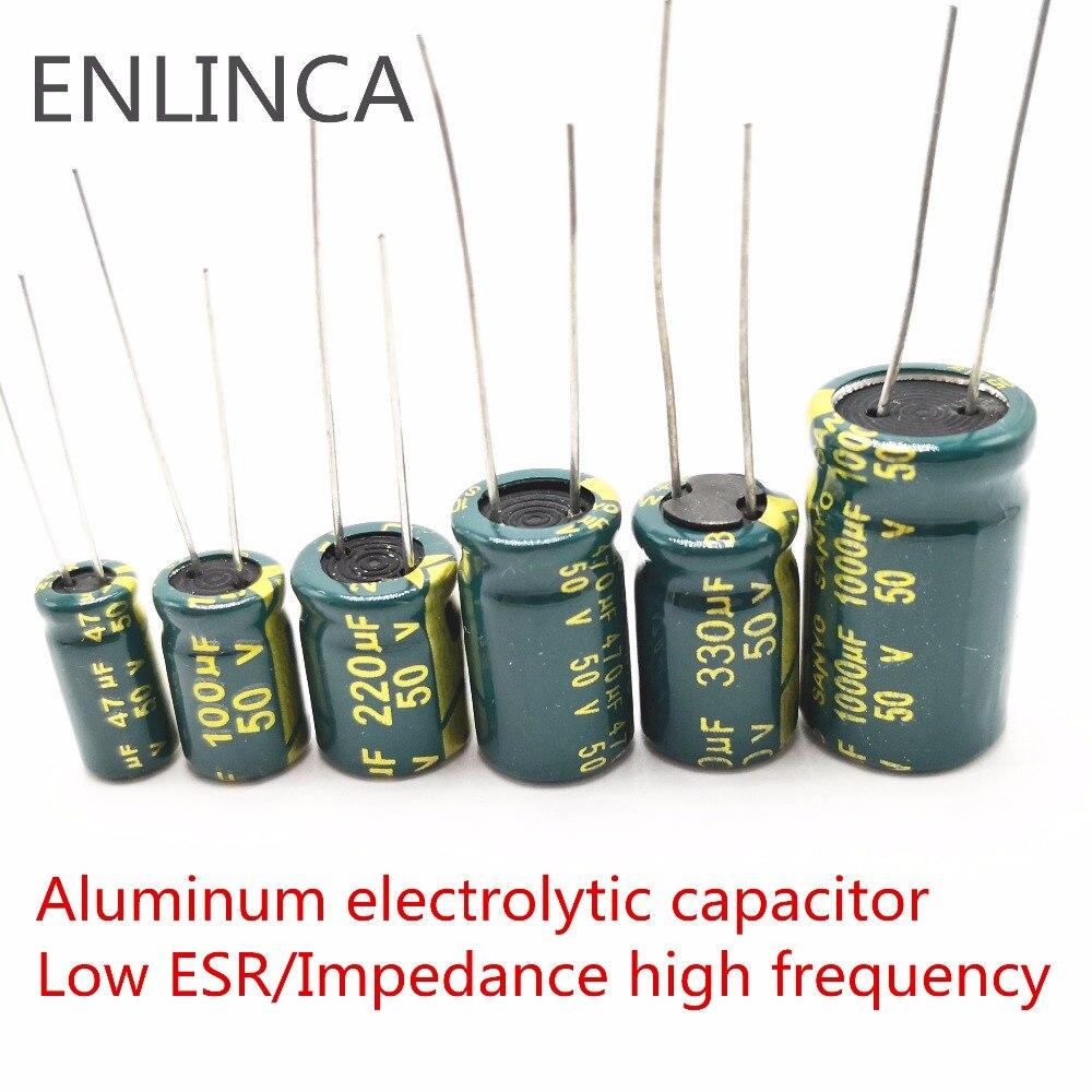 Купить с кэшбэком 5-20pcs 10V 16V 25V 35V 50V Low ESR high frequency aluminum capacitor 2.2uf 4.7uf 6.8uf 10uf 22uf 33uf 68uf 82uf 120uf 150uf 20%