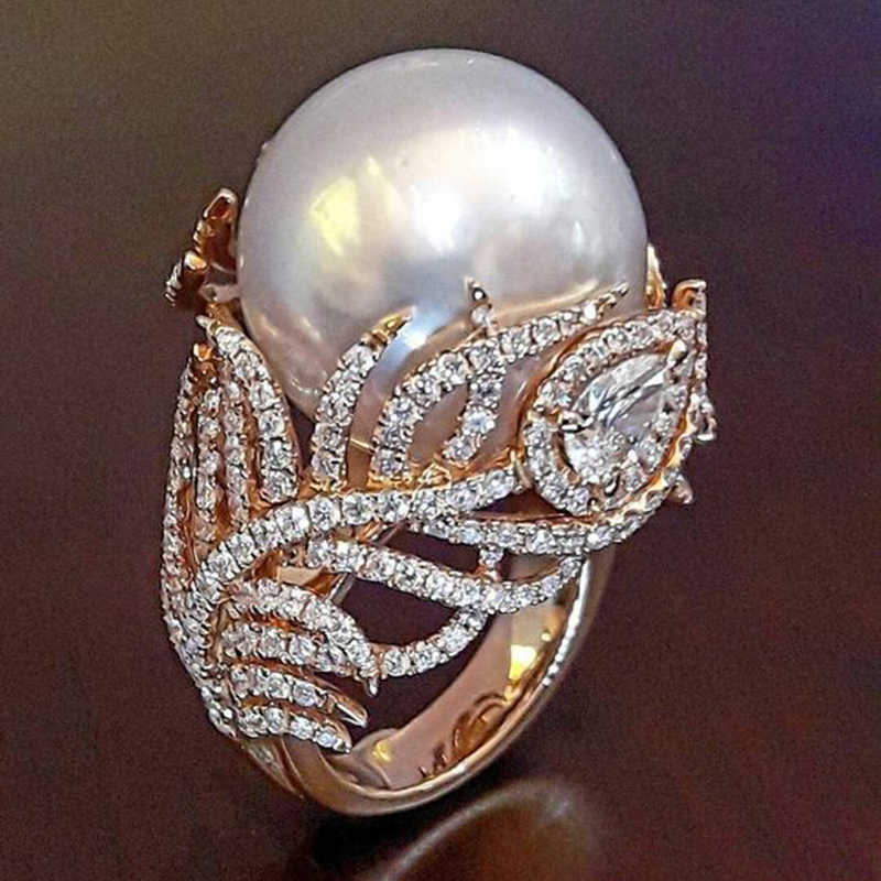 Trendy Simulated Pearl Leaf Rose Gold Rings for Women Jewellery Dropshipping anel anillos bagues femme Statement Jewelry O3P038