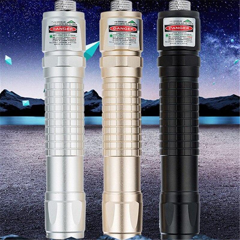 10000m High Quality Powerful Metal Green Laser Pointer Multiple Pattern Focus Laser Sight Portable Adjustable Lazer Pointer
