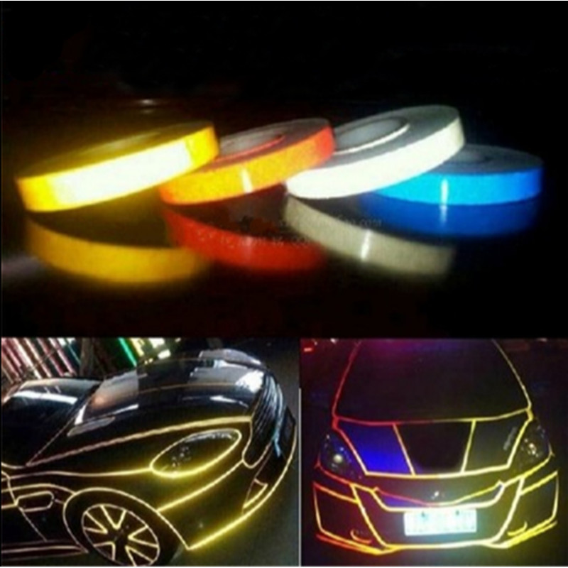 Car-styling Night Magic Reflective Tape 1cm*5m Automotive Body Motorcycle Decoration for opel toyota kia bmw ford renault racing pattern car styling sticker sport design for motorcycle auto waterproof reflective decal for ford vw opel renault bmw kia