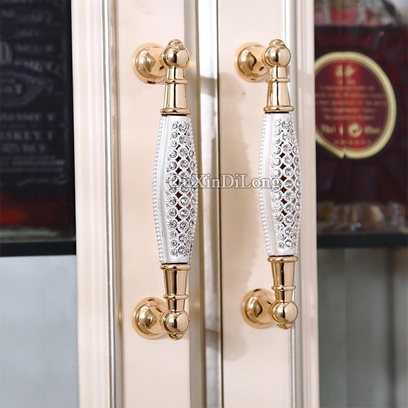 Luxury 2PCS European Inlaid Crystal Kitchen Cabinet Door Furniture Handles Cupboard Wardrobe Drawer Cabinet Pulls Handles Knobs in Cabinet Pulls from Home Improvement