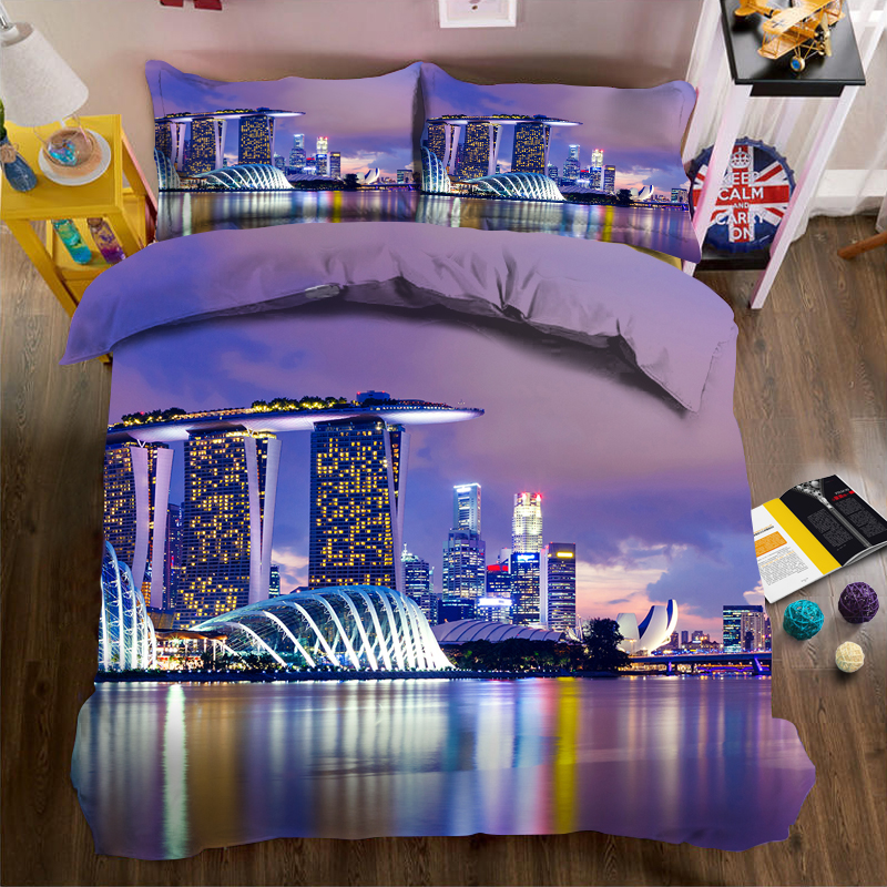Purple sea city 3d effect photo bed linen can be customized photo patternPurple sea city 3d effect photo bed linen can be customized photo pattern