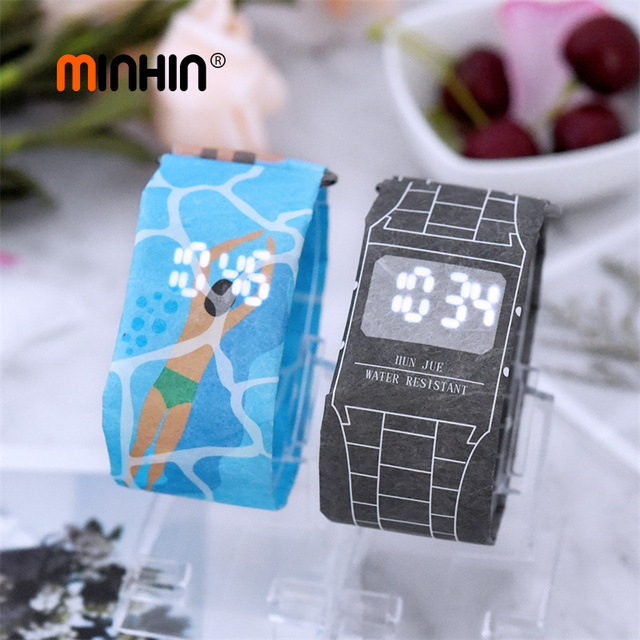 MINHIN New Design LED Paper Watches For Women Fashion Waterproof Universal Elect