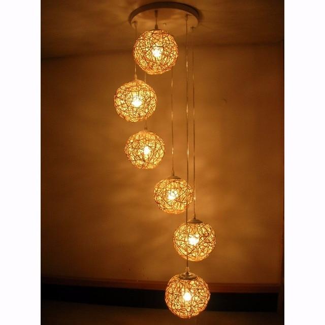 6 Light Natural Rattan Woven Ball Pendant Light Free Shipping Living Room Pendant  Lamp Bedroom Hallway
