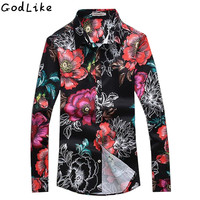 2017 Mens Long Sleeve Floral Shirts Spring Autumn New Slim Fit Men Flower Printed Shirts Camisas