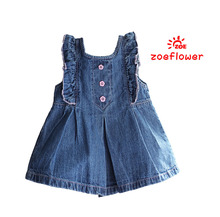 Hot 2016 Summer New Arrival Baby Girls Vest Denim Dresses Girls Fashion Jeans Dresses Kids Dress