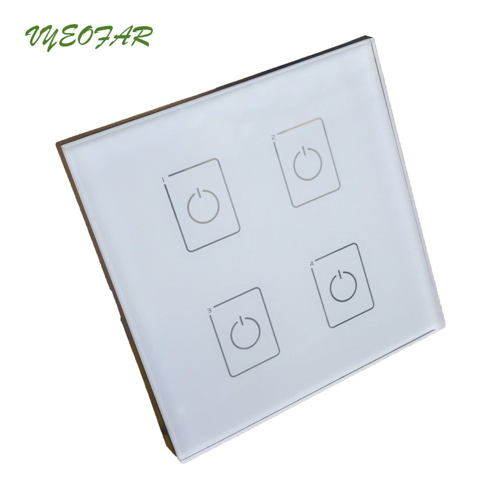 DA4 DALI Dimmer Wall Mount Touch Panel 4CH 4 Channel On/Off Switch LED DALI Dimmer Controller DALI CV Driver for LED Light glass 1 channel touch panel led dimmer controller black dc 12 24v