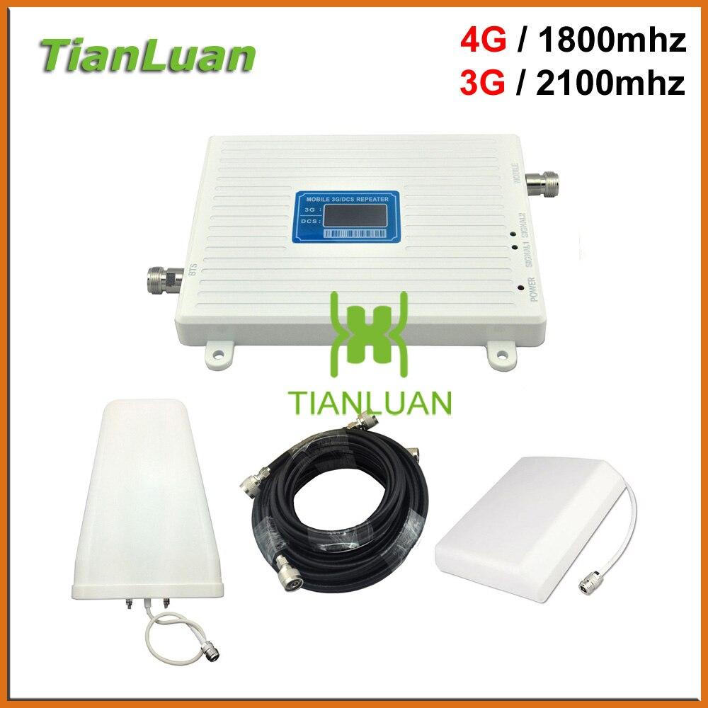 TianLuan DCS 4G LTE 1800 mhz 3G W-CDMA 2100 mhz amplificateur de Signal de téléphone portable répéteur 2G 3G 4G avec antenne périodique panneau/journal