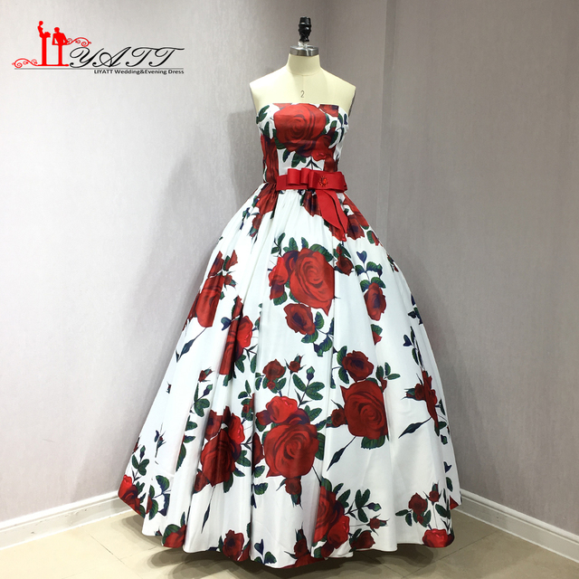 f971536a65c LIYATT 2018 Printed Rose Flowers Extra Puffy Ball Gown Amazing Formal  Strapless Long Evening Prom Dresses Custom Made