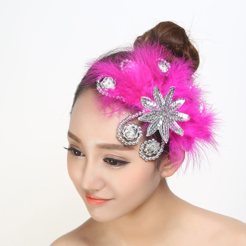 Square dance headdress Sequin Flower  opening performance stage headpiece