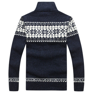 Image 4 - Christmas Sweater Winter New Pullover Snowflake Pattern Men s Leisure Cardigan Fashion Collar Male Thickening Wool Jacket