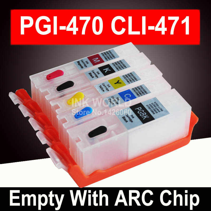 Untuk Canon PIXMA TS5040 MG6840 MG5740 TS6040 PGI470 Kosong Cartridge Printer Tinta Isi Ulang Refill Cartridge Permanen Chip