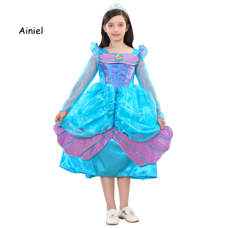 Summer Mermaid Princess Ariel Dress For Girl Fancy Cosplay Costume Children Clothing Girl Dress Cartoon Purple Gown Kid's Party
