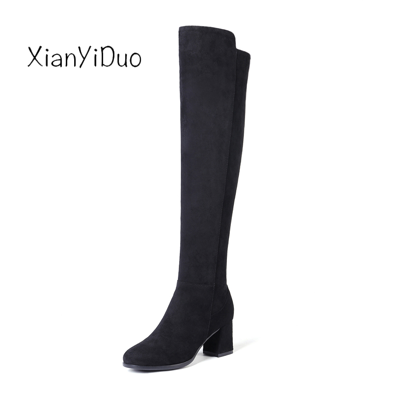 2019 Autunmn Slim Boots Sexy over the knee high Suede women snow boots women's fashion winter thigh shoes woman plus size 34-43 kickway faux suede slim boots sexy over the knee high women snow boots women s fashion winter thigh high boots plus size 45 46