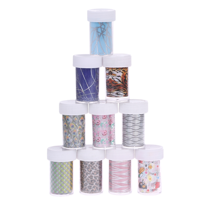 New 10Pcs Flower Nail Foil Decal Dream Catche Nail Art Transfer Sticker Decor Women Nail Tips Tools Random Color