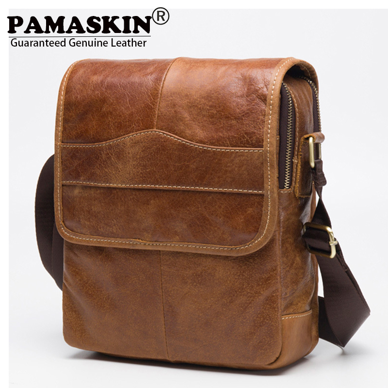 PAMASKIN Vintage Men Shoulder Bags 100% Premium Genuine Leather 2018 Cover Style Businessmen Messenger Bag Male Cross-body Bags