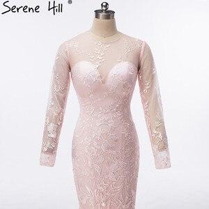 Image 5 - יען נוצות ארוך שרוולים ארוך שרוולי בת ים שמלת ערב ורוד רקמת ערב שמלות 2020 Serene היל HA2131