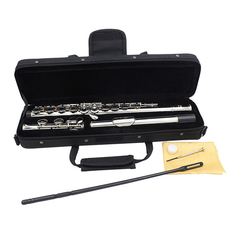 Concert Flute Silver Plated 16 Holes C Tune With E Key Woodwind Musical Instrument with Cleaning Cloth Stick Gloves ScrewdriverConcert Flute Silver Plated 16 Holes C Tune With E Key Woodwind Musical Instrument with Cleaning Cloth Stick Gloves Screwdriver