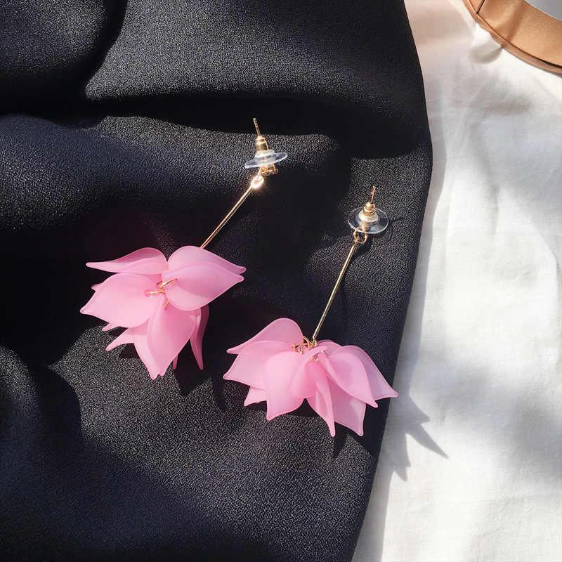 2018 nowy stop eleganckie kobiety Crystal Dangle kolczyki Rhinestone Flower kolorowe długie zwisające kolczyki dla kobiet biżuteria